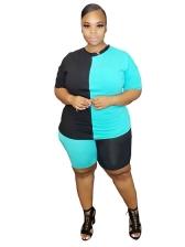 Contrast Color Sport Wear Plus Size Two Piece Sets