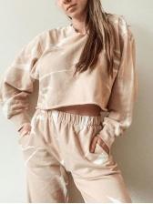 Printed Long Sleeve Elastic Waist Loungewear