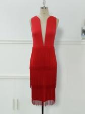 Deep v Tassels Midi Red Dress