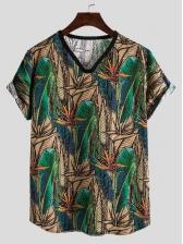 Botanic Printed Plus Size v Neck t Shirts