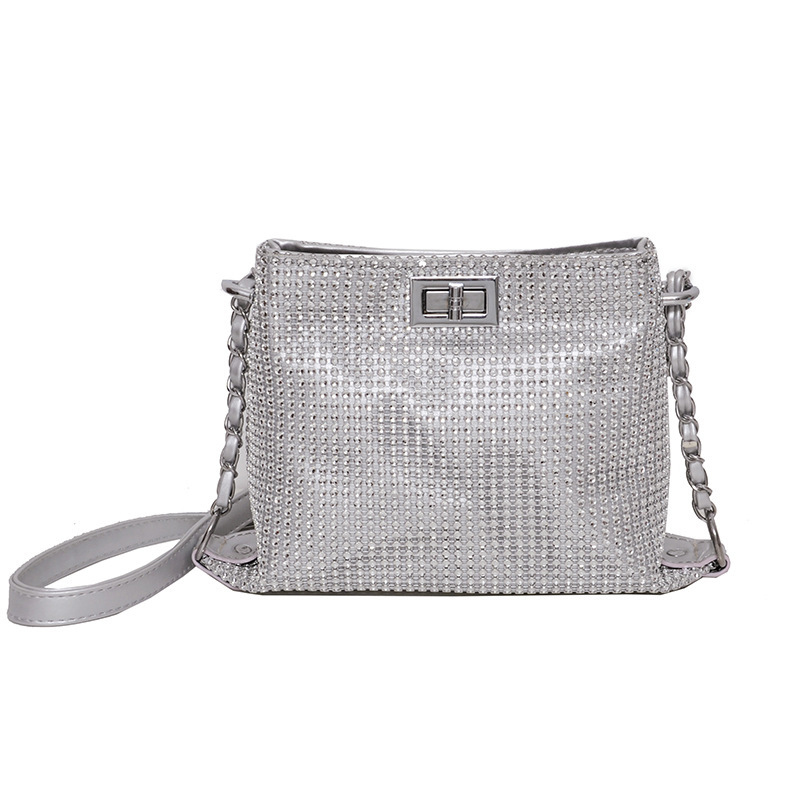 Shiny Rhinestone Twist Lock Chain Shoulder Bags