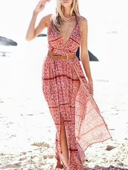 Bohemian Printed Backless Tied Halter Maxi Dress