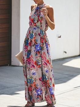 Chic Flower Printed Slit Sleeveless Maxi Dresses Online
