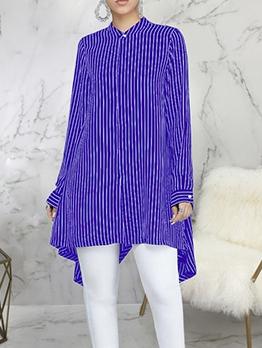 Loose Irregular Hem Striped Long Sleeve Long Blouse