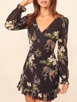 V Neck Back Cutout Long Sleeve Dress