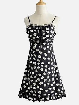 Summer Daisy Printed Slip Mini Women Dress