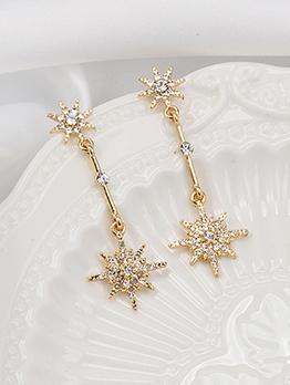Stylish Rhinestone Decor Long Star Earrings