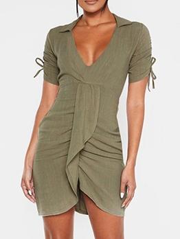 Deep v Front Ruffled Short Sleeve Dress