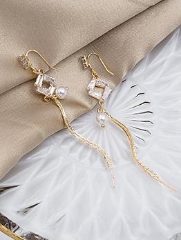 Chic Design Geometric Zircon Faux Pearl Long Earrings