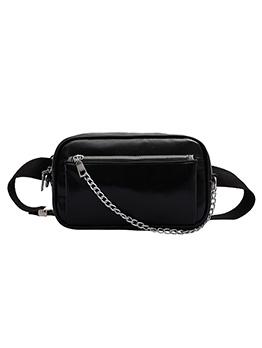 Chain Decorated Buckle Belt Crossbody Bum Bags