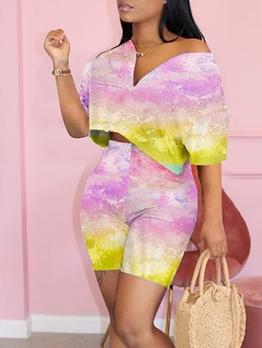 Fashion Tie Dye High Waist Two Piece Short Set