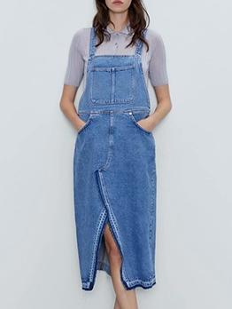 Split Hem Pockets Sleeveless Denim Midi Dress