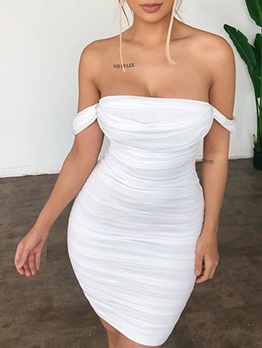 Club Solid Ruched Off Shoulder Bodycon Dress