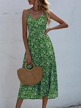 Smart Waist v Neck Floral Maxi Dress For Vacation