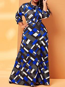 Euro Geometric Printed Plus Size Maxi Dresses