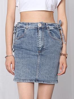 Chic Side Lace Up High Waist Denim Skirt