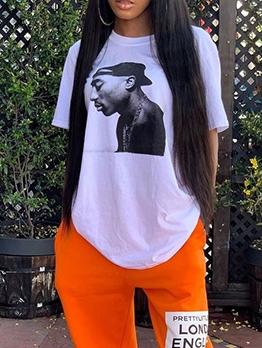 Fashion Printed Short Sleeve Loose Tee Shirt
