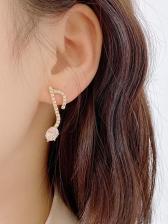 Rhinestone Decor Music Note Cute Earrings