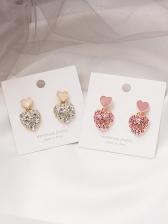 Sweet Rhinstone Decor Heart Earrings