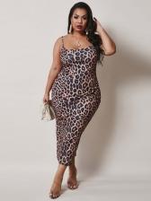 Sexy Leopard Printed Plus Size Slip Midi Dress