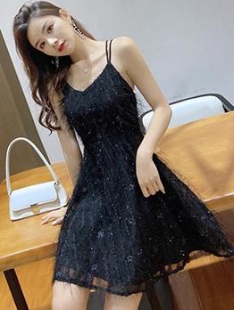 Cross Belt Backless Tassel Sleeveless A-Line Dress
