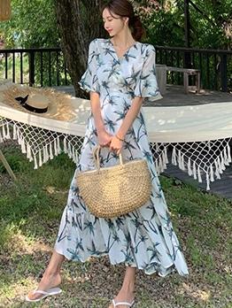 V Neck Beach Flare Sleeve Printed Maxi Dress