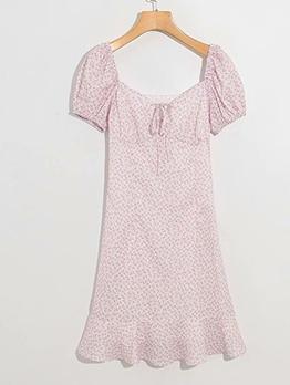 Ruffled Hem Summer Pink Floral Short Sleeve Dress