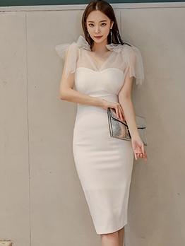 Elegant Tulle Patchwork Sleeveless Bodycon Dress