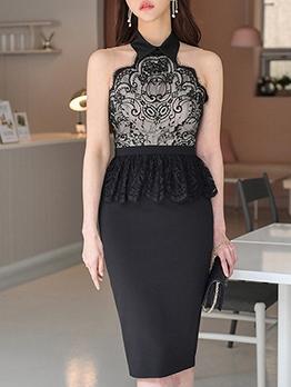 Eyelash Lace Patchwork Women Bodycon Dress