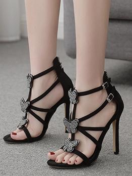Rhinestone Butterfly Decor Cute Sandals