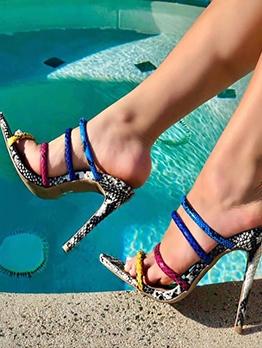 Contrast Color Snake Skin Heeled Summer Slippers