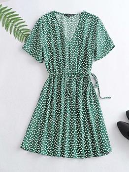 Casual V Neck Floral Green Dress