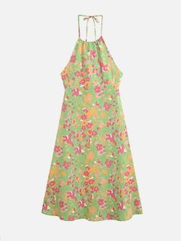 Pastoral Style Floral Green Halterneck Dress