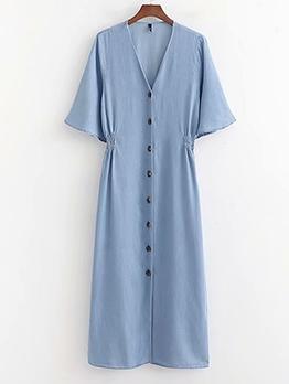 Single-Breasted Short Sleeve V Neck Blue Maxi Dress