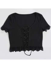 Front Lace-Up Lace Edges Sexy Black Cropped T Shirt