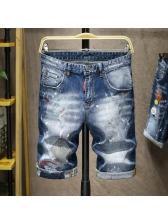 Summer Printed Denim Short Pants For Men