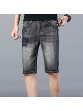 Fashion Embroidey Mid Waist Mens Denim Shorts