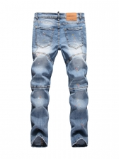 Stylish Letter Plaid Panel Mens Ripped Jeans
