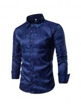 Turndown Collar Printed Long Sleeve Shirts For Men