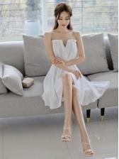 Graceful Gauze Patchwork High-Low Sleeveless Dress