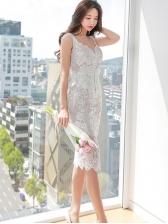 Graceful Solid Lace White Sleeveless Dress