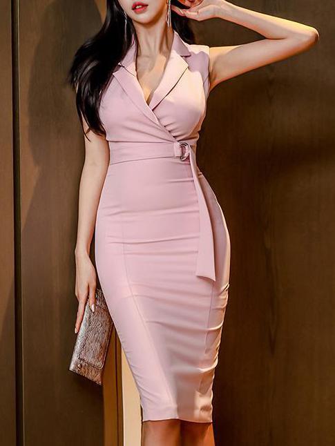 Lapel Collar Smart Waist Pink Sleeveless Blazer Dress