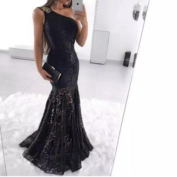 Fishtail Hem One Shoulder Fitted Black Sequin Formal Dress
