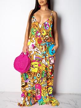 Casual Cartoon Printed Sleeveless Maxi Dress