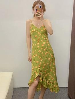 Ruffled Hem Sleeveless Green Floral Dress