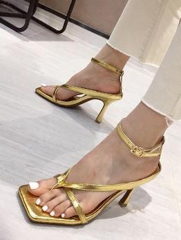 Euro Square Open Toe Heel Sandal