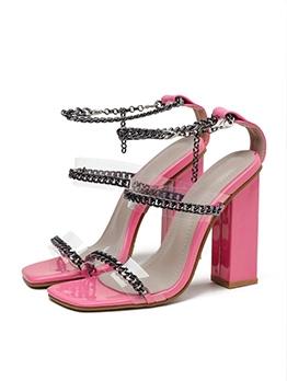 Chic Chain Square Toe Chunky Heel Sandal