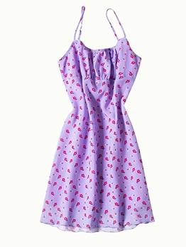 Vintage Style Sleeveless Floral Purple Dress