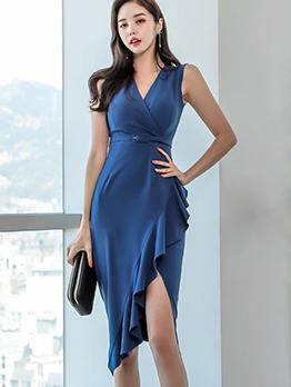 Ruffle Detail Split Hem Office Dress For Women