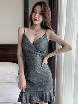 Flounced Hem Sleeveless Bodycon Dress For Club